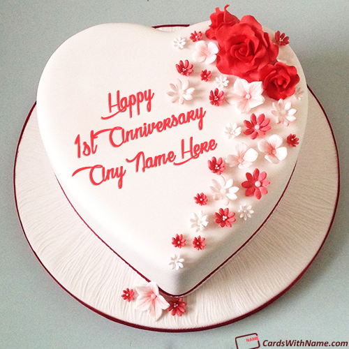 1st Wedding Anniversary Cake With Name In Heart