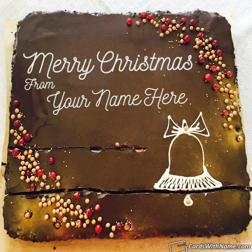 Beautiful Chocolate Cake For Christmas Wishes With Name