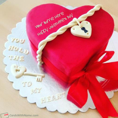 Beautiful Red Heart Valentines Cake With Name Edit