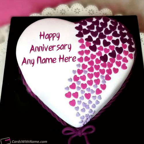 Classy Anniversary Cakes With Name Editor Online