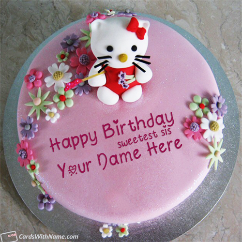 Cute Birthday Cake For Sister With Name Edit