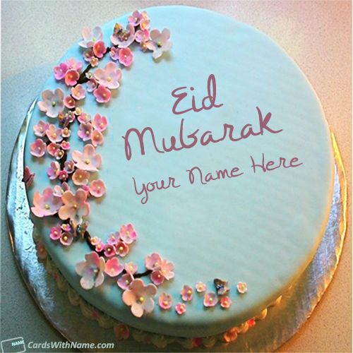 Eid Mubarak Greetings Cake With Name