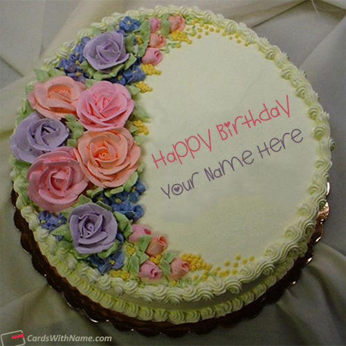 Floral Colorful Roses Birthday Cake With Name