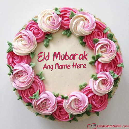 Flowers Decorated Eid Wishes Cake With Name