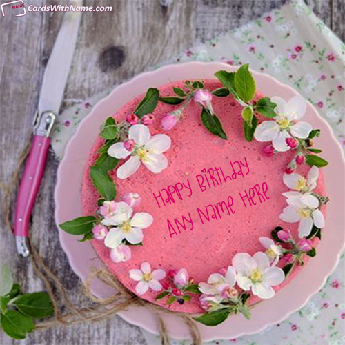 Flowers Decorated Name Birthday Cake For Boyfriend
