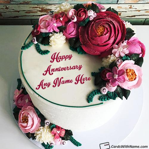 Free Romantic Anniversary Cake With Name Edit