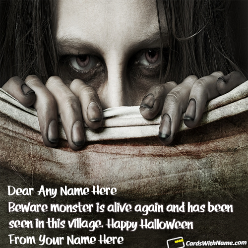 Happy Halloween Greetings Cards With Name Ediitng