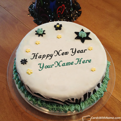 Happy New Year Greetings Cake With Name Editor