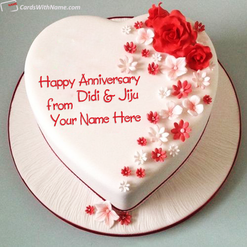Heart Happy Anniversary Cake For Sister And Jiju