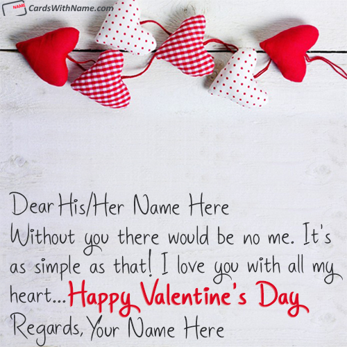 Hearts I Love You Valentines Day Wishes With Name