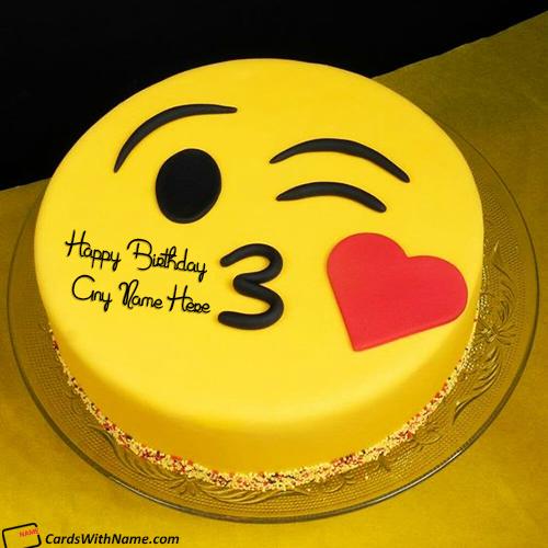 Kiss Emoji Birthday Cake With Name Edit