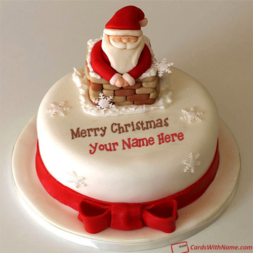 Merry Christmas Wishes Cake With Name Generator