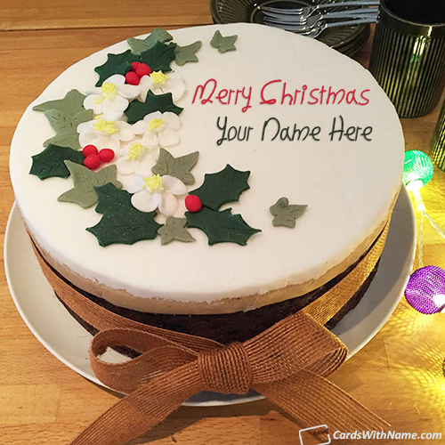 Modern Decorated Merry Christmas Greetings Cake With Name