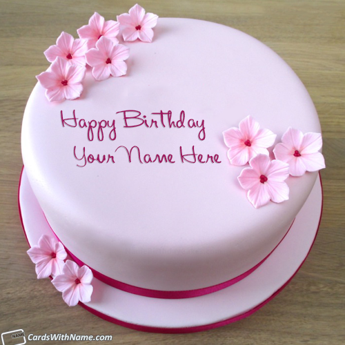 Pink Birthday Cake For Girlfriend With Name Edit