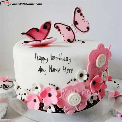 Pink Butterflies Birthday Cake With Name Edit For Girls