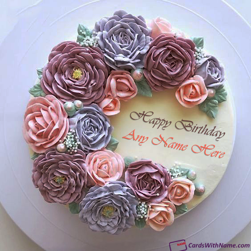 Pink Purple Roses Decorated Birthday Cake For Girl With Name