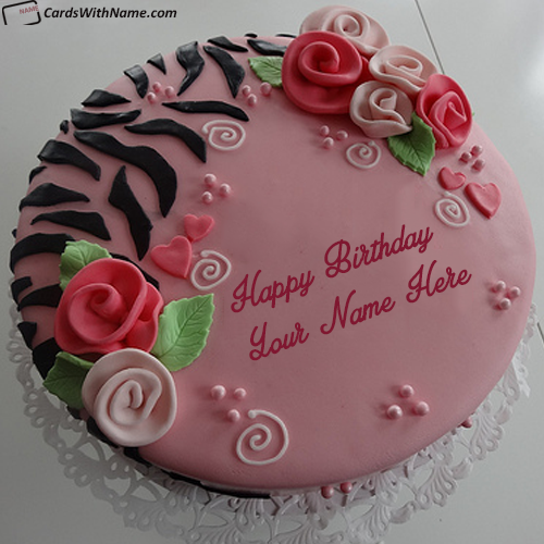 Pretty Birthday Cake For Girlfriend With Name Maker