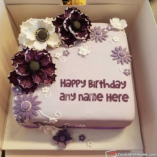 Purple Flowers Romantic Birthday Cake For Girlfriend