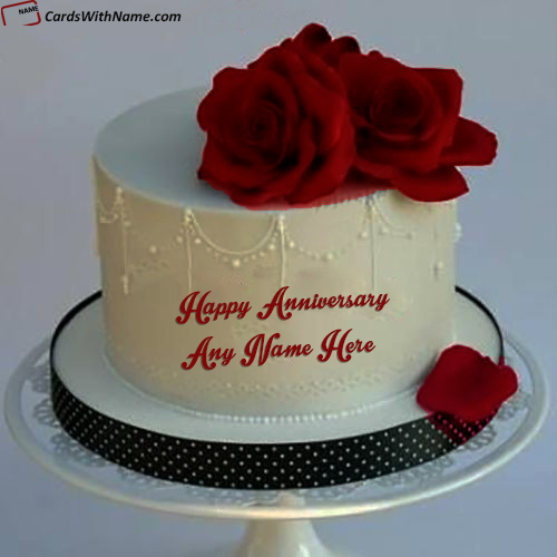 Red Roses Simple Anniversary Wishes Cake With Name
