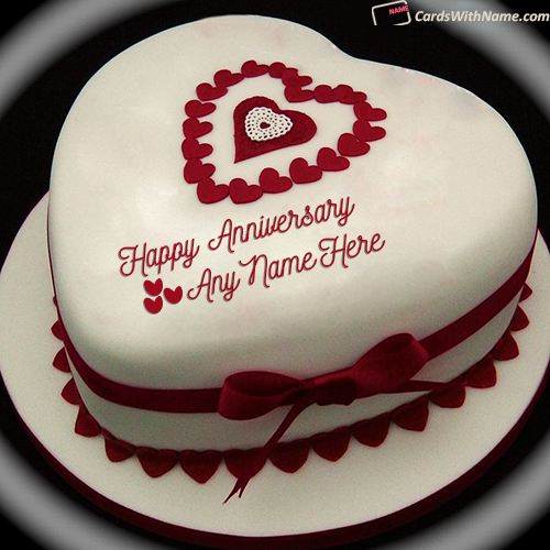 Romantic Anniversary Cake With Name Editor Online