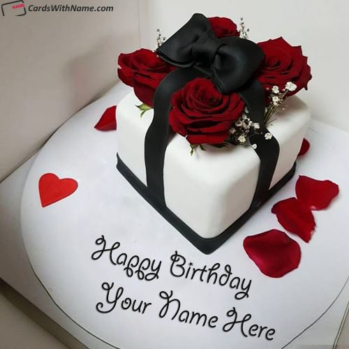 Romantic Birthday Cake For Lover With Name Edit