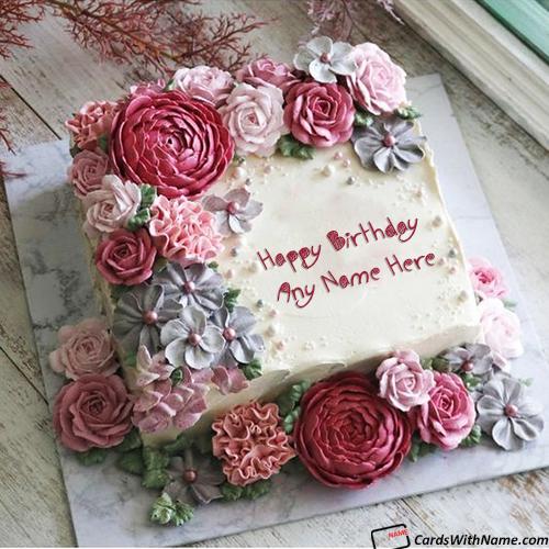 Romantic Birthday Cake With Name Generator For Girlfriend