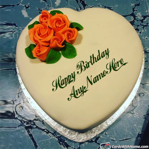 Roses On Heart Love Birthday Cake With Name Edit