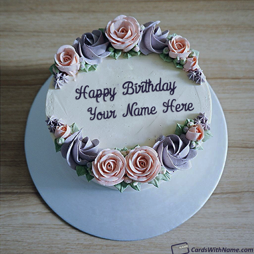 Stylish Birthday Cake With Name Edit For Girl