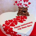 Cute Happy Anniversary Wishes Cake With Name Editing