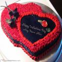Red Heart Valentine Cake For Couple With Name