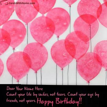Balloons Birthday Card With Name Edit Online