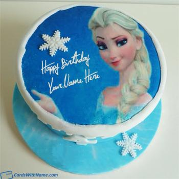 Frozen Elsa Birthday Cake For Girls With Name Edit