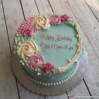 Girly Happy Birthday Cake With Name Free Download