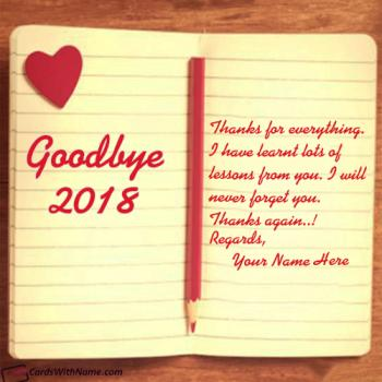 Goodbye 2018 Thanks For Memories With Name Maker