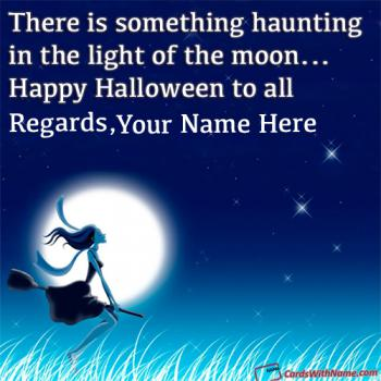 Halloween Witch Flying In Moonlight Wishes Name Cards