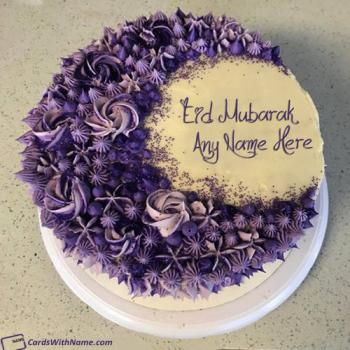 Happy Eid Mubarak Cake With Name Edit