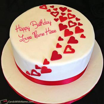 Hearts Birthday Cakes For Lover Name Generator
