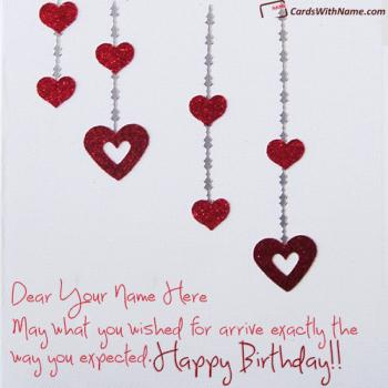 Hearts Happy Birthday Card With Name Free Download