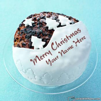 Merry Christmas Greetings Name Cake With Tree