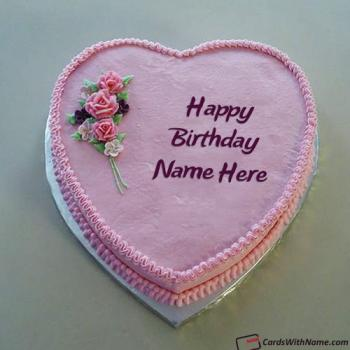 Pink Heart Happy Birthday Cake With Name Generator