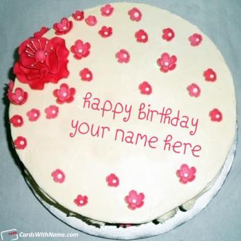Red Flowers Birthday Cake For Girlfriend With Name