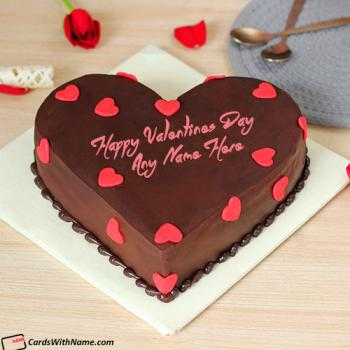 Romantic Hearts Valentine Cake For Lover With Name