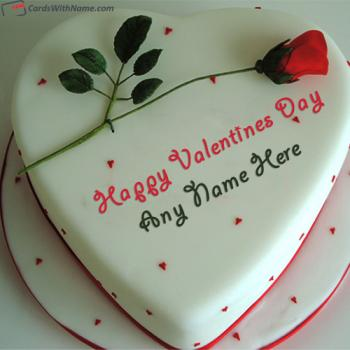 Romantic Red Rose Valentine Cake Images With Name