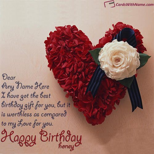 Heart Birthday Card For Girlfriend With Name Generator