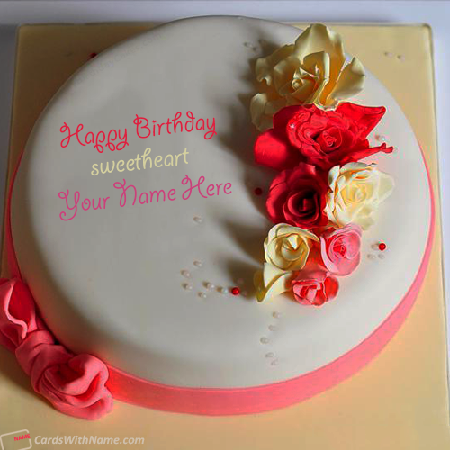 Roses Birthday Cake For Lover Name Maker